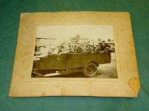 CHARABANC 1920s . Period photo of Old-OpenTop Bus. Mounted on card.